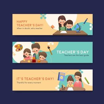 Modelo de banner com design de conceito do dia do professor