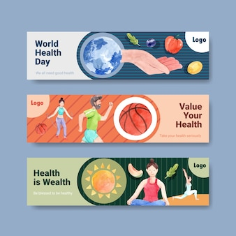 Modelo de banner com design de conceito do dia mundial da saúde mental para anúncio e folheto em aquarela
