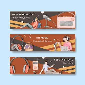 Modelo de banner com design de conceito do dia mundial do rádio para publicidade e marketing de ilustração em aquarela