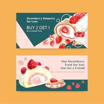 Modelo de banner com design de cozimento de morango