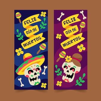 Modelo de banner com design plano dia de muertos
