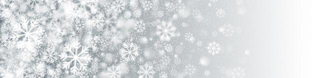 Modelo de banner com flocos de neve brancos