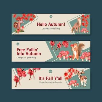 Modelo de banner com floresta de outono e animais Vetor grátis