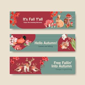 Modelo de banner com floresta de outono e animais