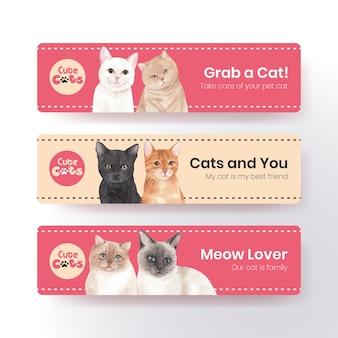 Modelo de banner com gato fofo