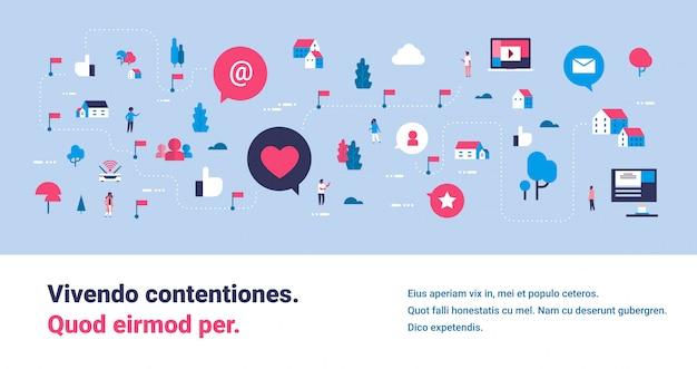 Modelo de banner com ícones isométricos de mídias sociais