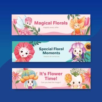 Modelo de banner com ilustração em aquarela de conceito de personagem floral