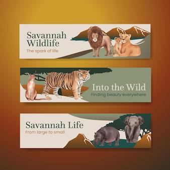 Modelo de banner com ilustração em aquarela de conceito de vida selvagem de savana
