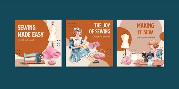 Modelo de banner com ilustração em aquarela de design de conceito de costura.