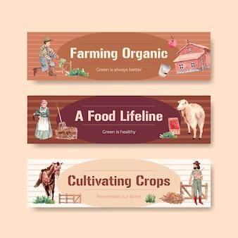 Modelo de banner com ilustração em aquarela do projeto do conceito de fazenda orgânica.