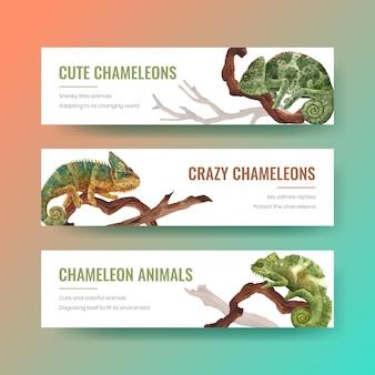 Modelo de banner com lagarto camaleão em estilo aquarela