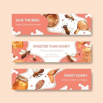 Modelo de banner com mel para aquarela publicitária