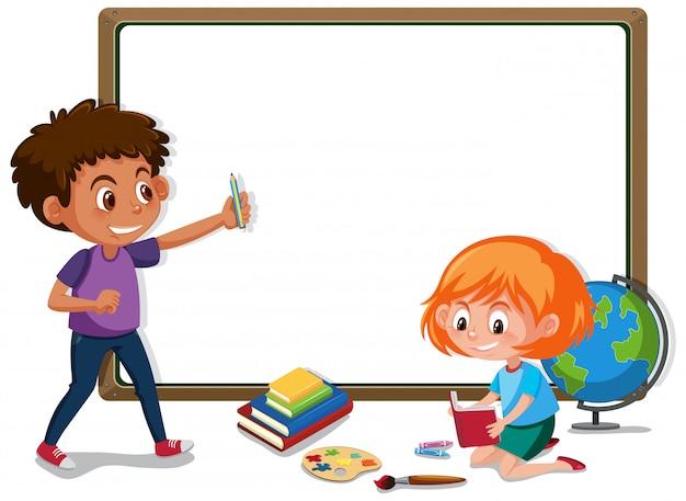 Modelo de banner com menino e menina na sala de aula