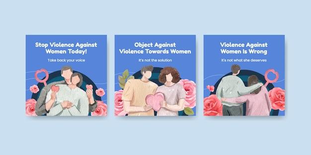 Modelo de banner com o fim da violência contra as mulheres em estilo aquarela