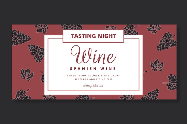 Modelo de banner com padrão de vinho
