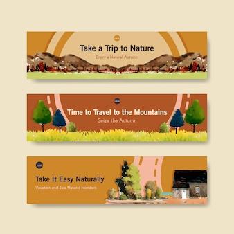 Modelo de banner com paisagem no design de outono