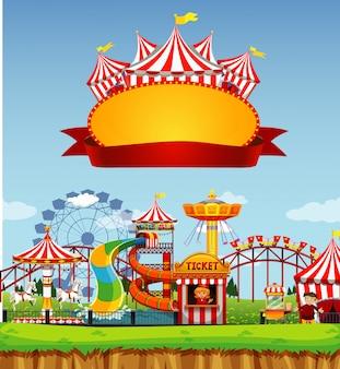Modelo de banner com parque de diversões em