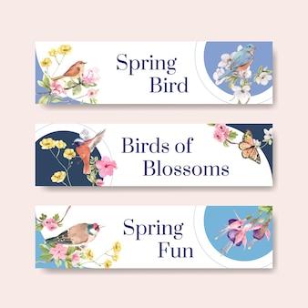 Modelo de banner com pássaros e conceito de primavera
