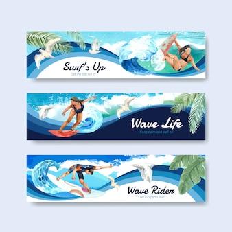 Modelo de banner com pranchas de surf na praia