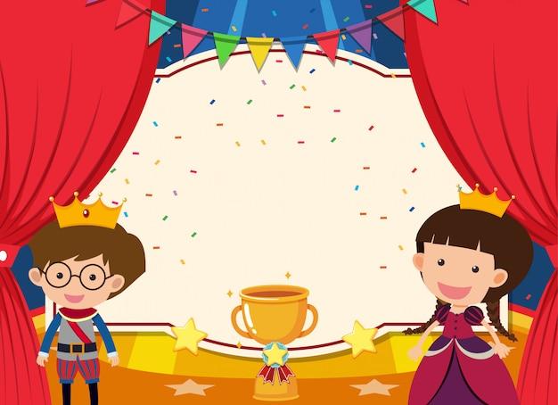 Modelo de banner com príncipe e princesa no palco