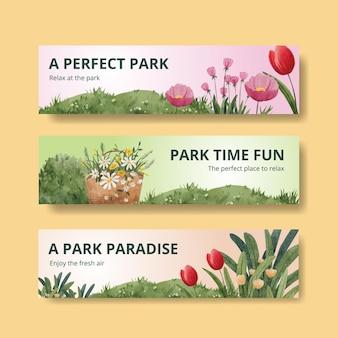 Modelo de banner com projeto de conceito de parque e família para anunciar ilustração em aquarela