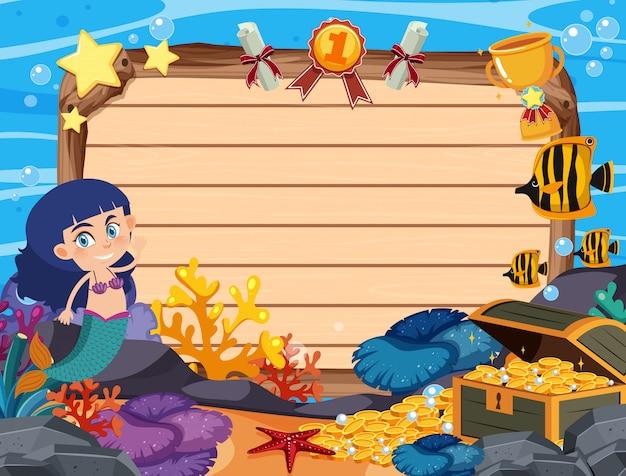 Modelo de banner com sereia e moedas de ouro no fundo do mar