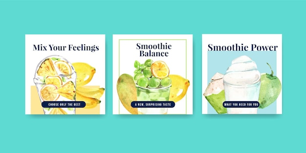 Modelo de banner com smoothies de frutas