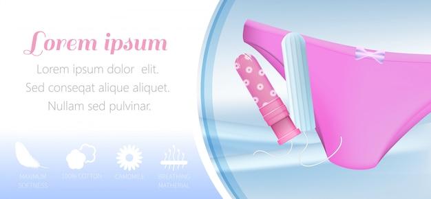 Modelo de banner com tampões com proteção invisível para mulheres ativas