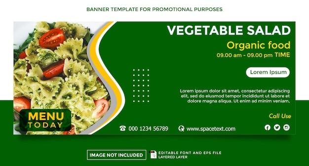 Modelo de banner com tema de loja aberta de salada de legumes