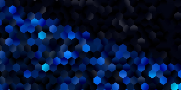 Modelo de banner com um design escuro padrão hexagonal