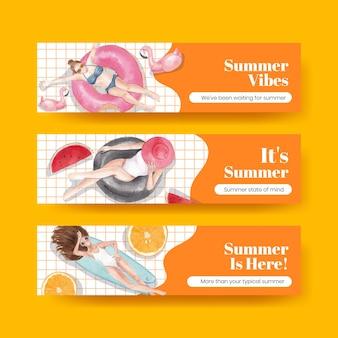 Modelo de banner com vibrações de verão