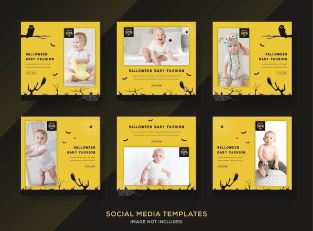 Modelo de banner conjunto de moda de bebê de halloween para mídia social post feed.