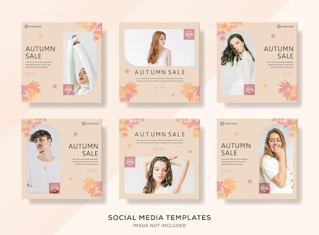 Modelo de banner conjunto de venda de moda outono.