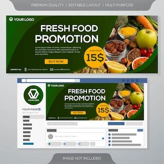 Modelo de banner culinária de alimentos frescos