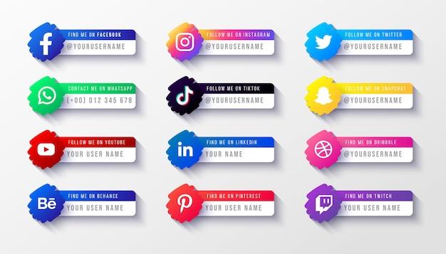 Modelo de banner da terceira parte inferior dos logotipos de mídia social