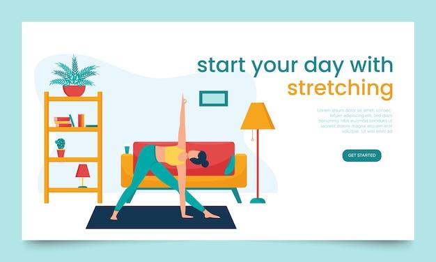 Modelo de banner da web. a garota faz ioga em um apartamento.