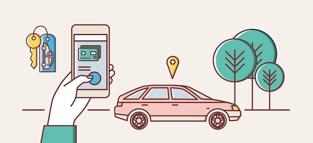 Modelo de banner da web com a mão segurando o smartphone e o automóvel na rua da cidade