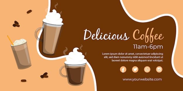 Modelo de banner da web com café delicioso