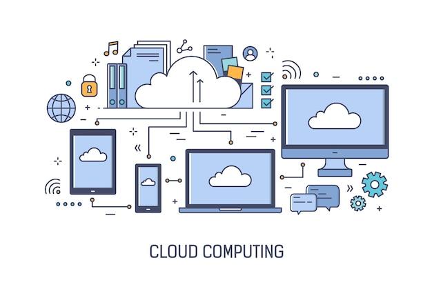 Modelo de banner da web com dispositivos eletrônicos em rede