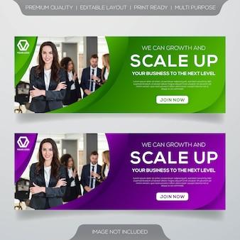 Modelo de banner da web com estilo moderno