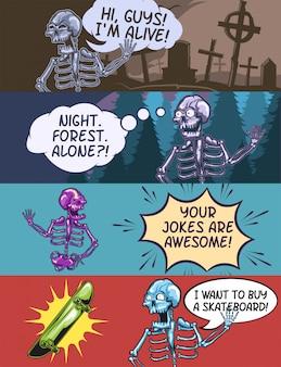 Modelo de banner da web com ilustrações de esqueleto emocional.