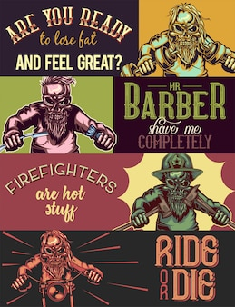 Modelo de banner da web com ilustrações de esqueletos de desportista, barbeiro, bombeiro e motociclista.