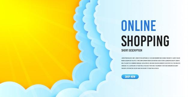 Modelo de banner da web com nuvens.