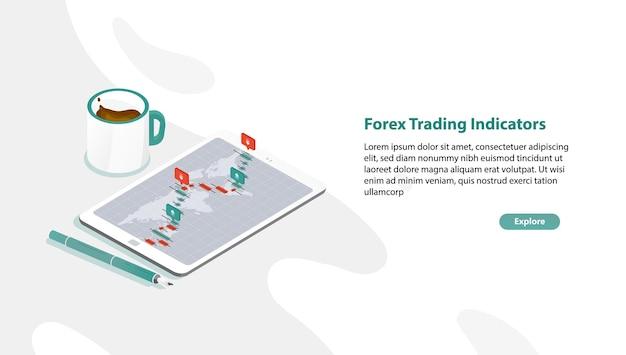 Modelo de banner da web com tablet pc e gráfico de taxas de mercado de câmbio ou indicadores de negociação forex na tela, caneta, xícara de café Vetor Premium