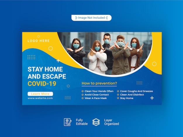 Modelo de banner da web coronavírus ou covid-19