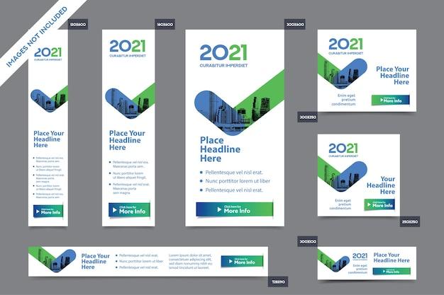 Modelo de banner da web corporativa em vários tamanhos.