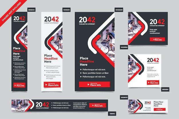 Modelo de banner da web corporativo em vários tamanhos Vetor Premium