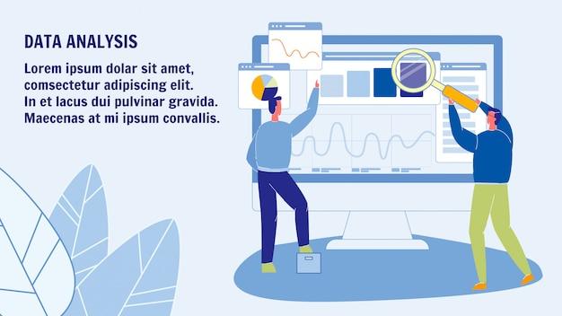 Modelo de banner da web de análise de dados com espaço de texto