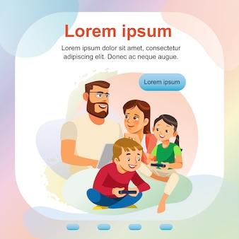 Modelo de banner da web de atividade familiar em casa feliz