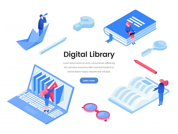 Modelo de banner da web de biblioteca digital